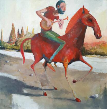 סוס אדום בשדה קיץ